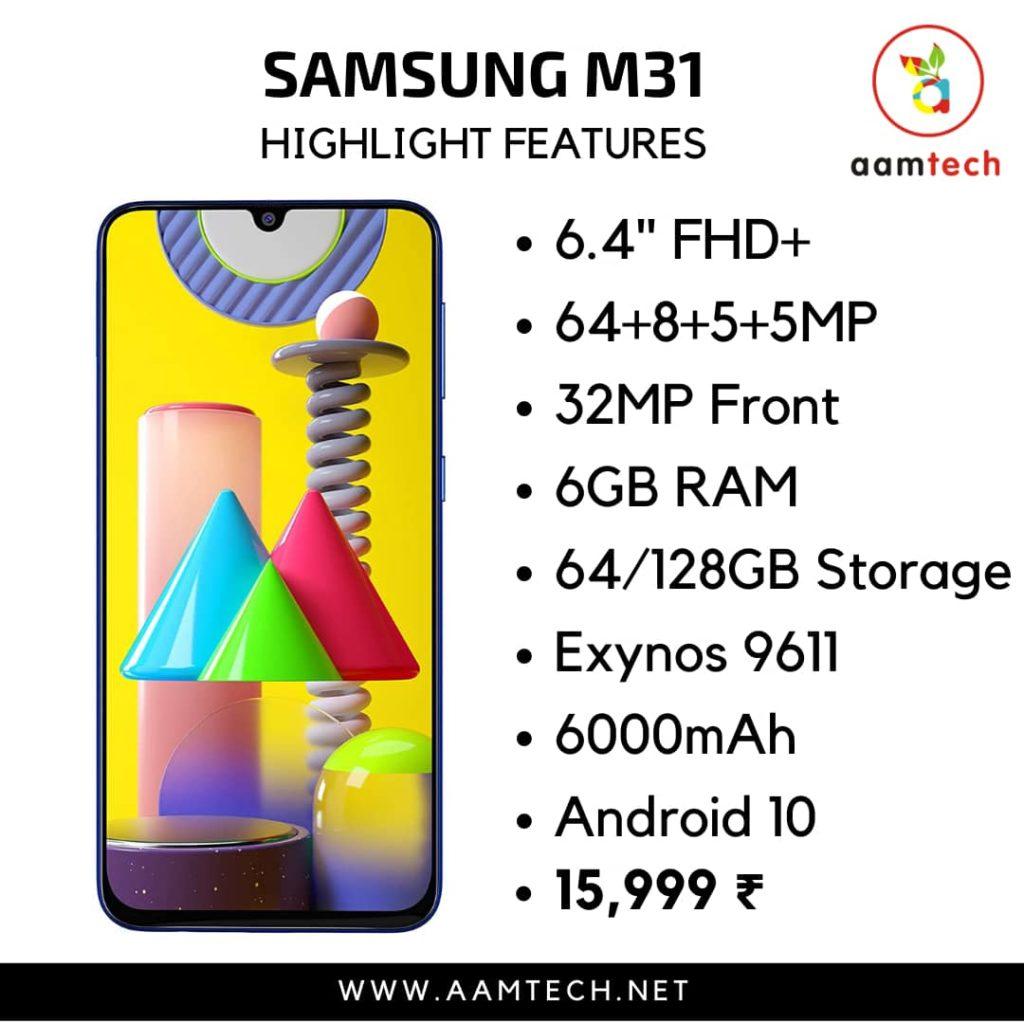 टॉप 5 बेस्ट फोन 20 हजार के अंदर Samsung Galaxy M31
